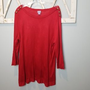 1X red sweater with gold buttons on shoulder